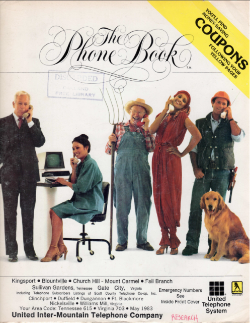 TN - Kingsport - Blountville Area 1983 Phone Book